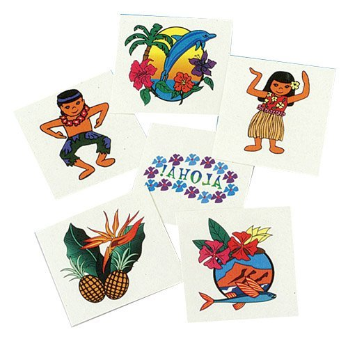 US Toy Company 248 Luau Tattoos, 144-Pack