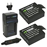 Wasabi Power Battery (2-Pack) and Charger for SJ4000, SJ5000, SJ6000, and GeekPro Cameras