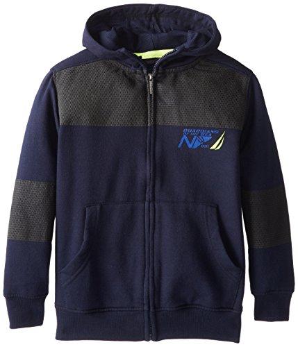 Nautica Big Boys' Fleece Mesh Lined Hoody, Navy, Large front-1013715