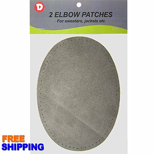 "Buy 2/pkg Sew-on 4 3/4""x6 1/2"" Grey Suede Cowhide Elbow Patches"