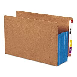 SMD74689 - Smead 74689 Blue Extra Wide End Tab File Pockets with Reinforced Tab and Colored Gusset