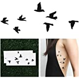 Flock of Black Birds Temporary Tattoo (Set of 2)