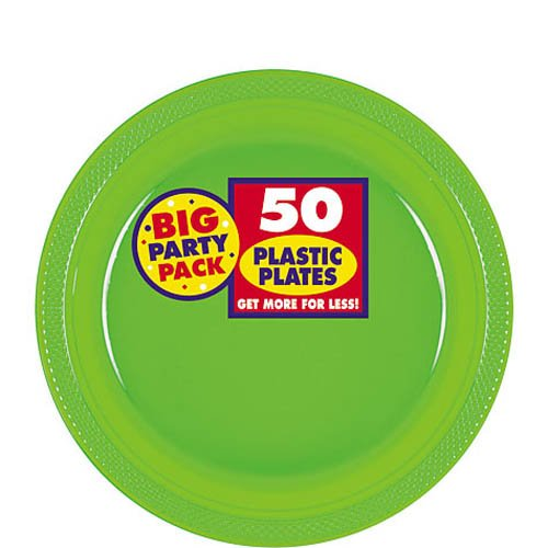 Amscan Big Party Pack 50 Count Plastic Dessert Plates, 7-Inch, Kiwi