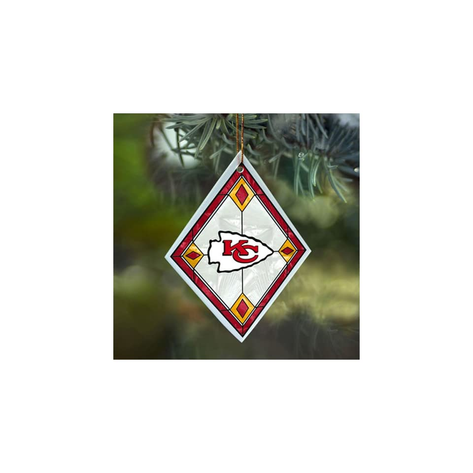 Kansas City Chiefs NFL Art Glass Tree Ornament (4x3