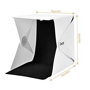 Zecti Photo Light Box, Light Tent with Black and White Backdrop for Smartphone and DSLR Photo Tent for Photography 20cm x 20cm/9.4 x 9.4 Inch (Tamaño: 20*20cm)
