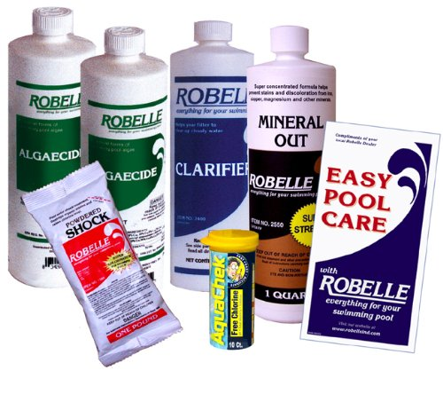 Robelle Clarifier, Mineral Out, Algaecide, Calcium Hypochlorite Shock Swimming Pool Start-Up Chemical Kit For Pools Up To 10,000 Gallons