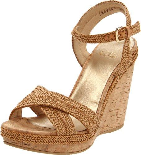 Stuart Weitzman Women's Minx Wedge Sandal,Camel Laniard,10 M US