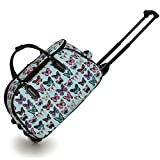 KCMODE Womens Light Blue Multi Colour Butterfly Print Travel Bag Holdall Suitcase Trolley with Wheels