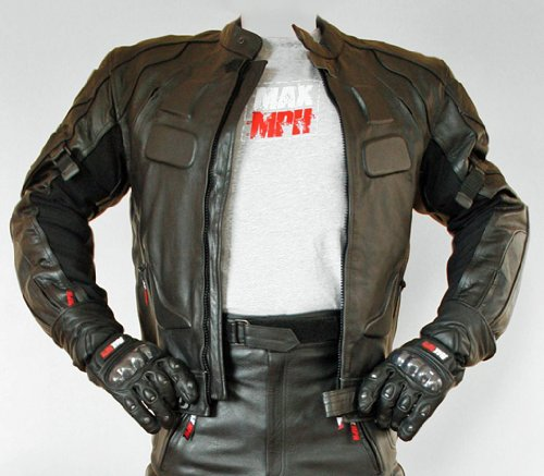 MAX MPH ULTIMATE Leather Motorcycle Jacket  &  Jeans / Trousers Set - removable CE armour