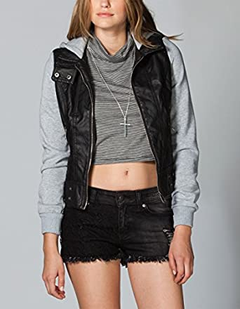 FULL TILT Fleece/Faux Leather Womens Hooded Jacket