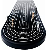 Black Anodized 3 Track Aluminum Cribbage Board with Peg Storage