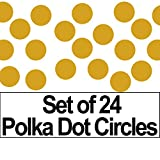 "Set of 24 - 2"" Circles Polka Dots Vinyl Wall Graphic Decals Stickers (Metallic Gold)"