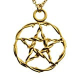 Pentacle Gold-dipped Pendant Necklace on 20″ Rolo Chain