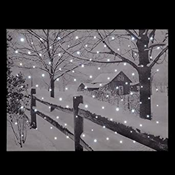 Snowtime Fibre Optic Wall Canvas Country House Snow Scene #FB00312