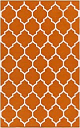 Orange Rug Modern Chic Trellis Design 9-Foot x 12-Foot Cotton Flat-Woven Lattice Dhurry