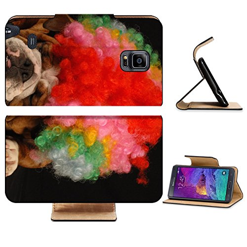 [Liili Premium Samsung Galaxy Note 4 Flip Pu Leather Wallet Case IMAGE ID: 4184274 english bulldog dressed up with clown wig on black] (Comical Halloween Costumes)