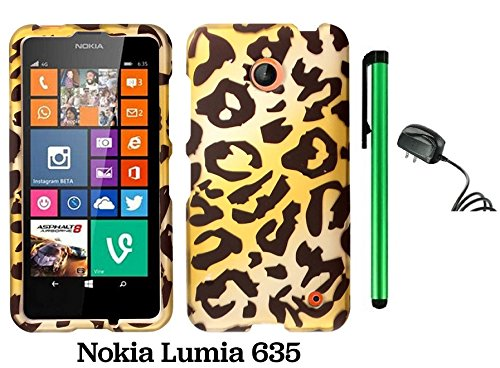 Nokia Lumia 635 (Us Carrier: T-Mobile, Metropcs, And At&T) Premium Pretty Design Protector Cover Case + Travel (Wall) Charger + 1 Of New Assorted Color Metal Stylus Touch Screen Pen (Gold Leopard)