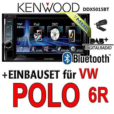 VW polo 6R-kenwood dDX5015BT 2-dIN multimédia uSB mHL kit de montage d'autoradio dAB