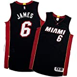 Lebron James Adidas Miami Heat Authentic On-court Game Black Jersey Men's