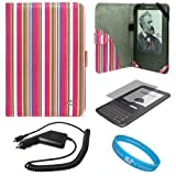 Pink Colored Stripes Pattern Design Protective Portfolio Nylon Carrying Case Cover for Amazon Kindle 3rd Generation Wireless Reading Device 3G Wi-Fi 6 inch LCD Display + Clear Screen Protector Guard for Kindle 3 Wifi + Rapid Car Charger with IC Chip + SumacLife TM Wisdom Courage Wristband