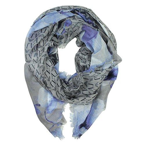 Armani Jeans Logo Scarlett Grigio E Sciarpa Con Stampa Floreale Grey Fabric