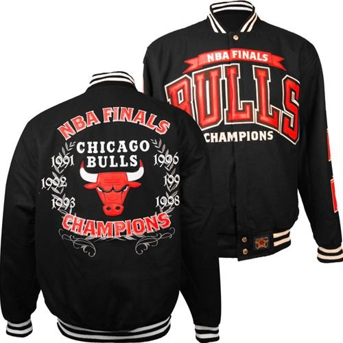 Chicago Bulls Coat Jacket Official NBA Champions Leather Embroidered New Reversible (Black, Large) at Amazon.com