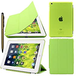 Elite Ultra Thin Smart Flip Foldable Flip Case cover for Apple iPad Mini 3 Tablet with Glittering Stylus (Sleep/wakeup) (Green)