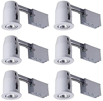 Canarm RN3NRC1WH6C Recessed Lights Kit, Includes Six Single Bulb Fixtures, White Directional Trim