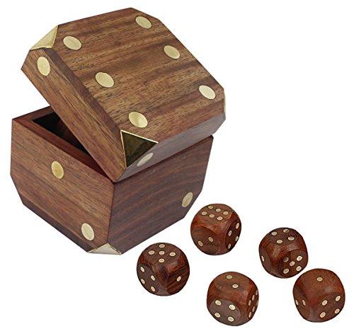 Indian dadi casella artigianale gioco in legno set scatola di immagazzinaggio ottone intarsio arte dia - 7,62 cm