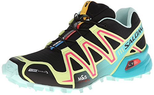 Salomon Women's Speedcross 3 CS W Trail Running Shoe,Black/Flashy/Igloo Blue,9.5 M US