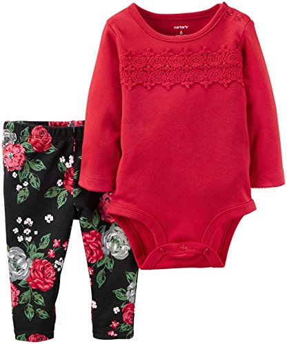 Carter's Baby Girls Bodysuit Pant Sets 121g862, Red, 12M