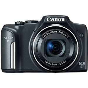 Canon PowerShot SX170 IS 16.0 MP Digital Camera with 16x Optical Zoom and 720p HD Video (Black)