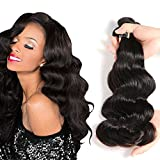 Nefertiti Hair Virgin Human Hair Extensions Brazilian Body Wave 3 Bundles, Unprocessed Tangle Free Human Hair Weave Weft (20 22 24 inch) Natural Color