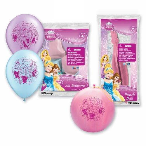 Pioneer National Latex Disney Princess Balloon Party Pack (6 Balloons/4 Punch Balls), Assorted - 1