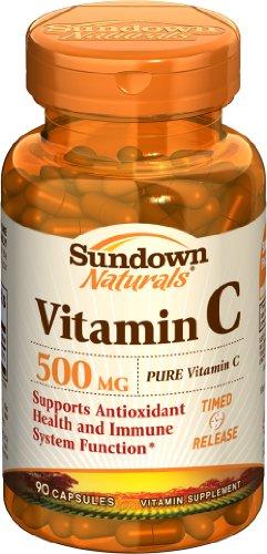 Sundown Naturals Vitamin C, 500 Mg, 90 Capsules (Pack Of 4)