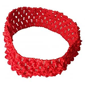 BELLAZAARA Baby Girl Elastic Red Crochet Soft knitted Hair Bands