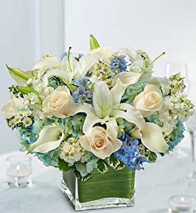 1-800-Flowers - Blue and White Centerpiece By 1800Flowers
