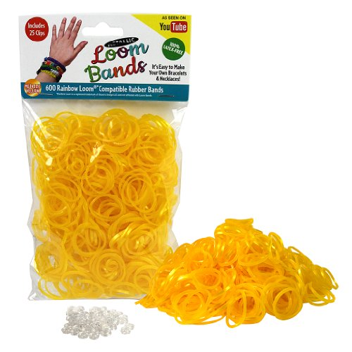 Loom Rubber Bands - 600 Metallic Shimmer Rubber Band Refill Pack with Clips (Metallic Yellow) - 1