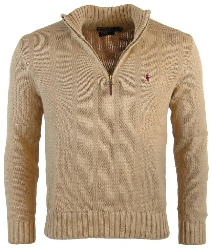 Polo Ralph Lauren Mens Half Zip Mock Neck Cotton Sweater - L - Camel