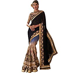 Vasu Saree For Women Multicolor Shaded Party Wear Embroidered Saree With Designer Zari Floral Lace Work On Border