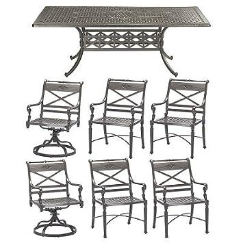 Lovely Rectangular Outdoor Dining Set in Gray Finish Italian Tile