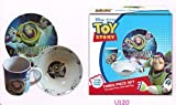 Toy Story 3 Pc Porcelain dinner Set in Printed Gift box, 8 oz Mug, 7.5 Rim Plate, 5.5 Bowl (No Florida)