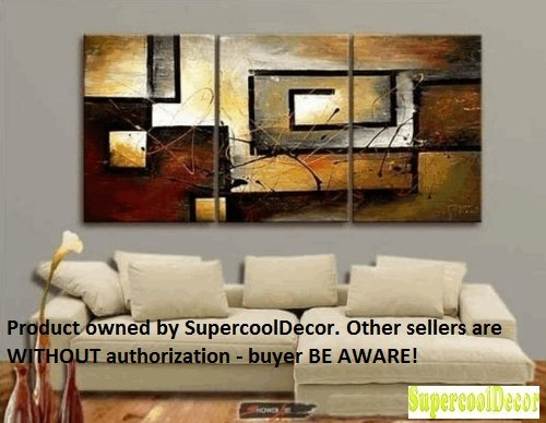 supercooldecor3007 - Modern Abstract Oil Painting on Canvas Stretched-framed Ready to Hang - Return shipping covered for continental US regions