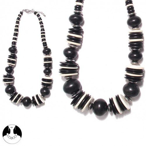 SG Paris Necklace 52cm Coco Black and White Noir Et Blanc Necklace Necklace Coco Winter Women Out of Africa Fashion Jewelry / Hair Accessories Ball
