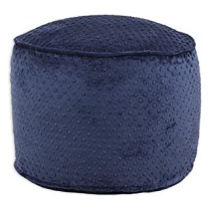 Chooty & Co. Chooty & Co. Dots Round Corded Beads Hassock Ottoman -, Navy, Fabric, Ottoman
