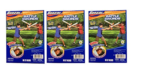 Banzai Inflatable Battle Play Swords -3 Pack (6 Total Play Swords and 3 Repair Patches) - 1