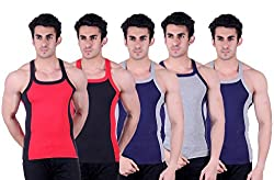 Zimfit Superb Gym Vests - Pack of 5 (RED_BLK_BLU_GRY_BLU_95)