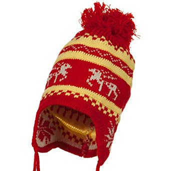 Infant Deer Ear Cover Knit Beanie Hat - Red