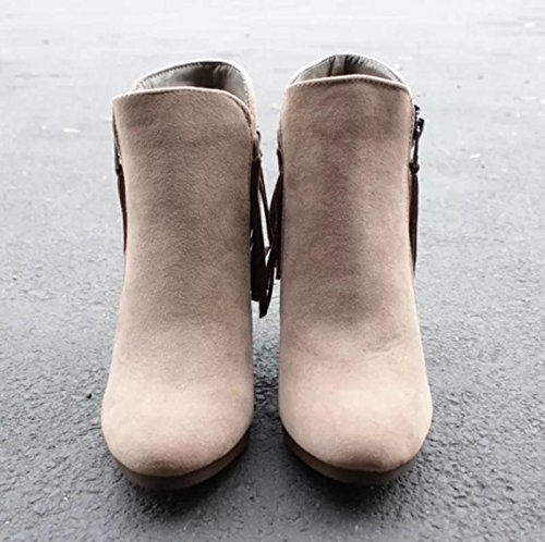 Febelle Fashionable Women Scrub Bigh-heeled Boots High Heel boots Women Hot Vintage Khaki & 38 1