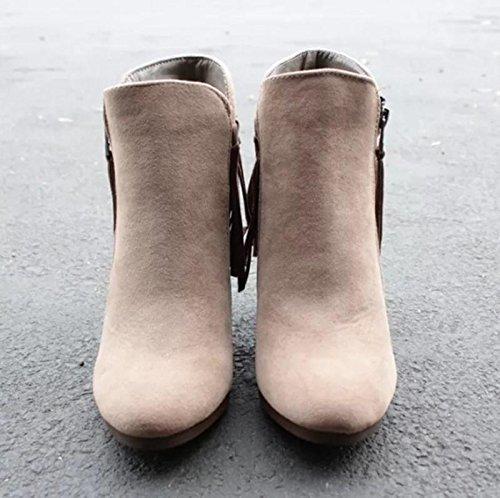 Febelle Fashionable Women Scrub Bigh-heeled Boots High Heel boots Women Hot Vintage Khaki & 38 1